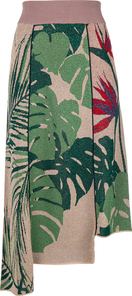 Circus Hotel Tropical asymmetric lurex midi skirt