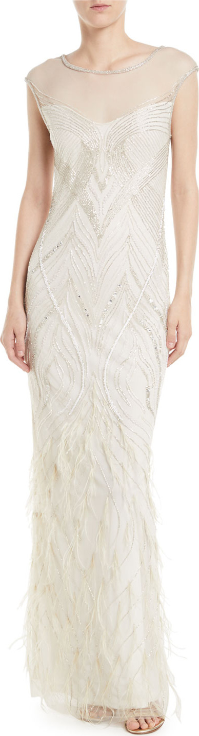 Parker Allie Beaded Gown w/ Feather Detailing