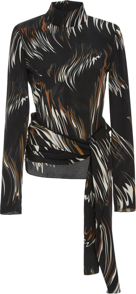 Givenchy Tied Printed Silk Turtleneck Blouse