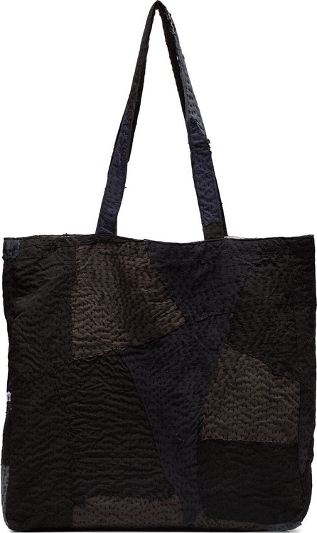 By Walid Black and grey patch detail tote bag