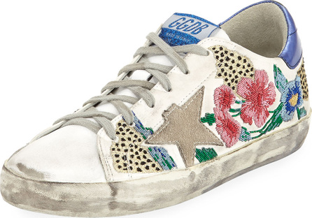 Golden Goose Deluxe Brand Superstar Floral Embellished Leather Low-Top Sneakers