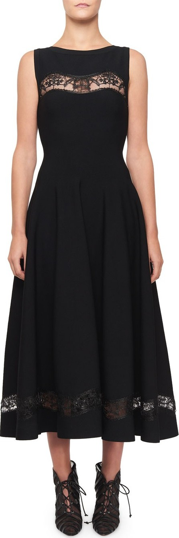 Alaïa Raffia-Embroidered Sheer Panel Dress, Black