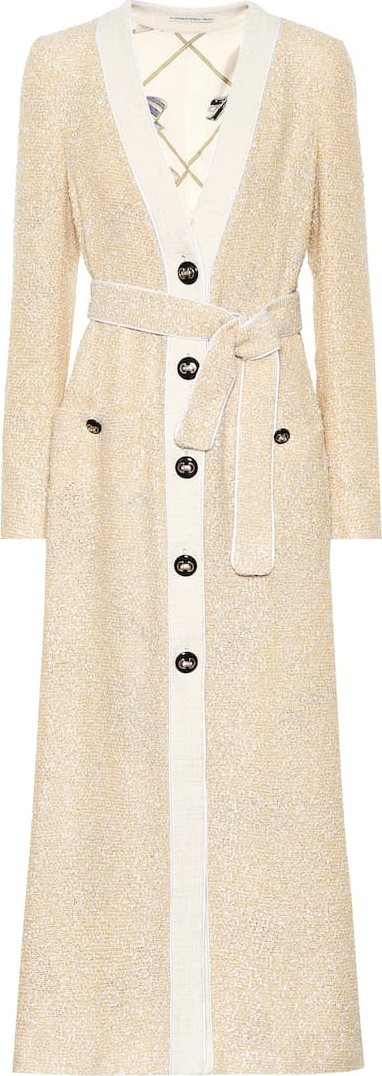 Alessandra Rich Belted tweed coat