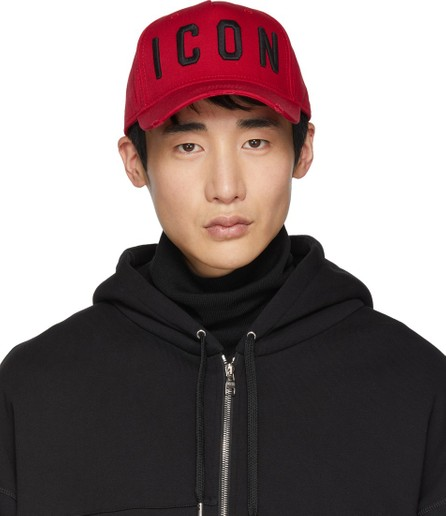 DSQUARED2 Red & Black 'Icon' Baseball Cap