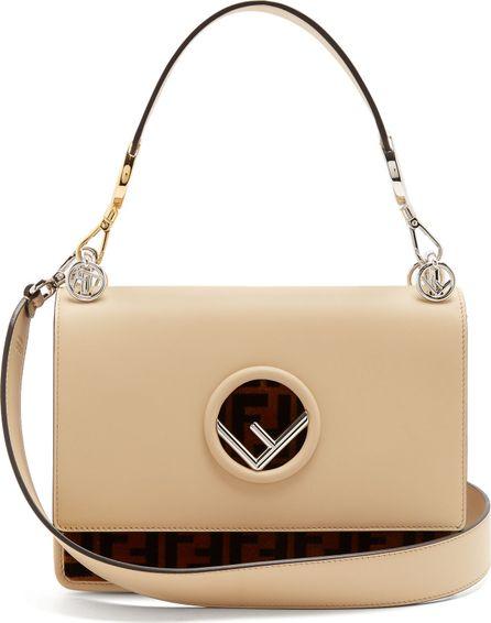 Fendi Kan I Logo leather and velvet shoulder bag