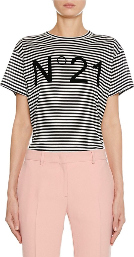Nº21 Striped Crewneck Short-Sleeve Logo T-Shirt