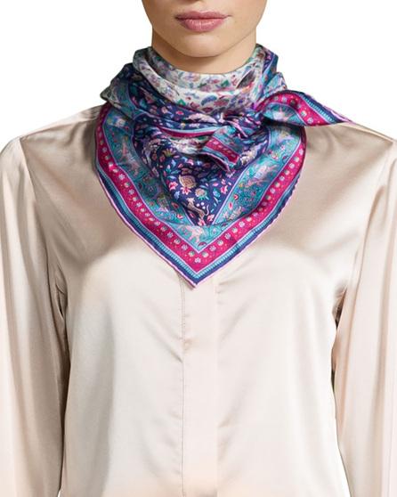 Liberty London Imran Framed Floral Silk Scarf