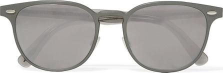 Oliver Peoples Sheldrake D-frame gunmetal-tone mirrored sunglasses