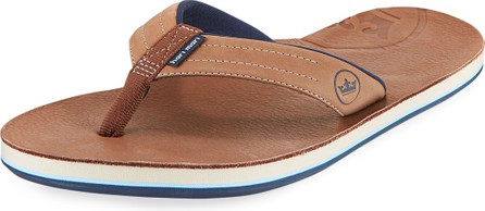 Hari Mari x Peter Millar Men's Leather Thong Sandals, Chocolate