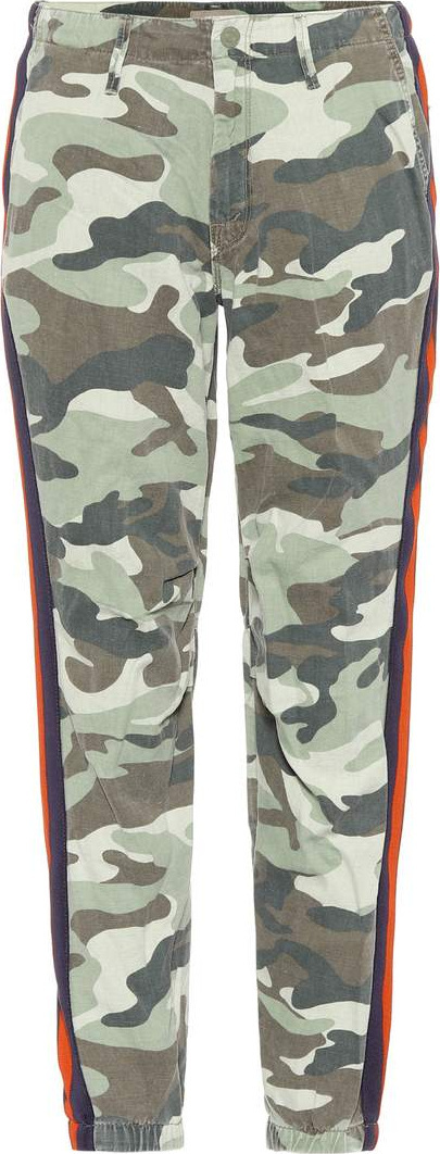 MOTHER Camouflage cotton and linen trousers