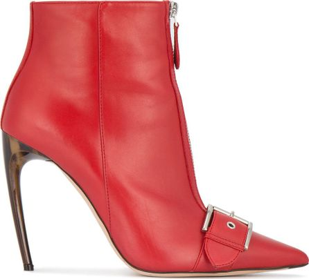 Alexander McQueen 105mm horn heel buckled leather boots