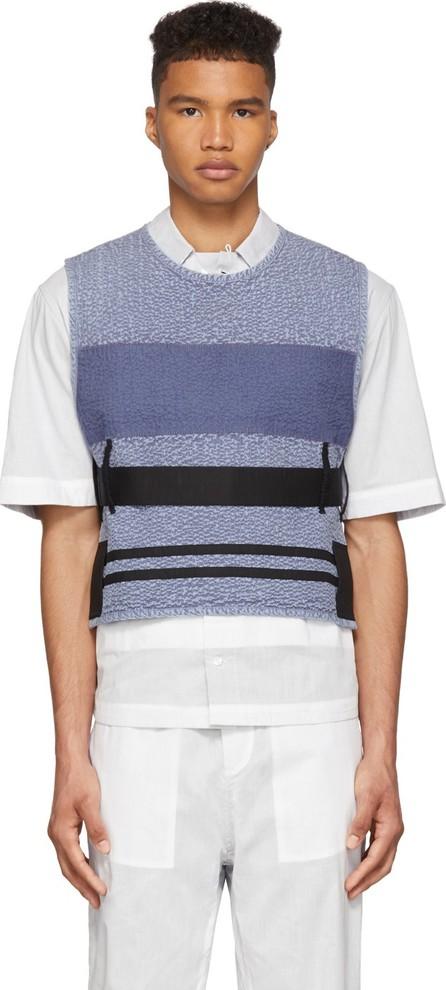 Craig Green Blue Cotton Acid Wash Line Stitch Vest