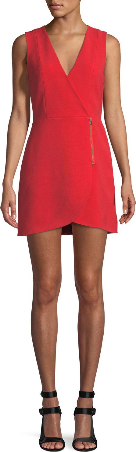 Alice + Olivia Lennon Surplice Sleeveless Side-Zip Mini Cocktail Dress