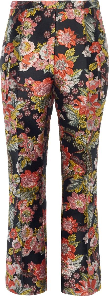 Andrew Gn Cropped Floral-Jacquard Slim-Leg Pants