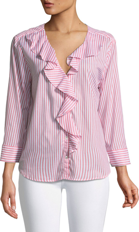 Velvet By Graham & Spencer Hama Striped Ruffle Button-Down Top