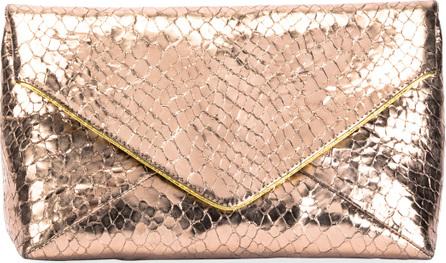 Dries Van Noten Metallic Embossed Leather Envelope Clutch Bag