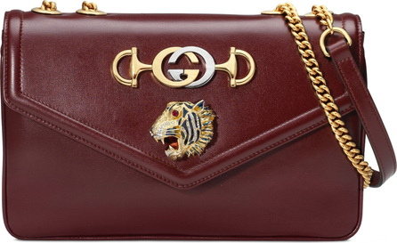 Gucci Medium Tiger Head Leather Shoulder Bag