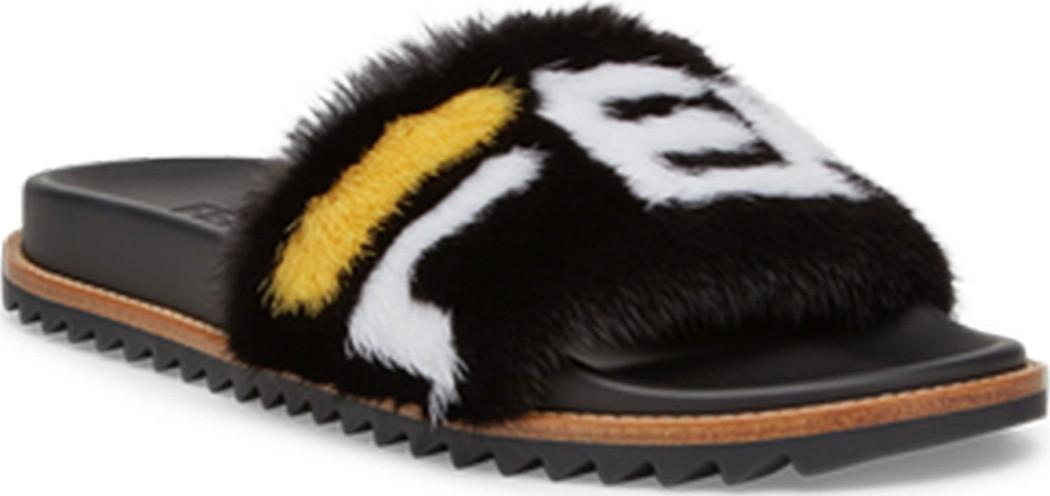 cc63df8f694 Fendi Men s Fendi Mania Logo-Print Mink Fur Slide Sandals - Mkt