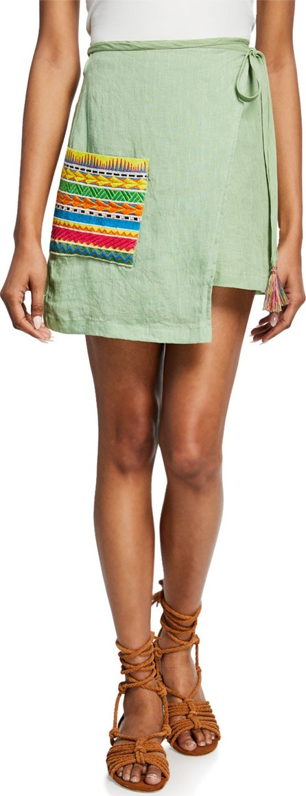 All Things Mochi Ivy Linen Wrap Skirt w/ Embroidered Pocket