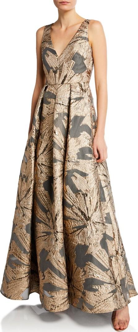 Aidan Mattox V-Neck Sleeveless Metallic Jacquard A-Line Gown