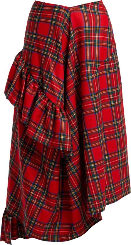Preen Morgan tartan wool midi skirt