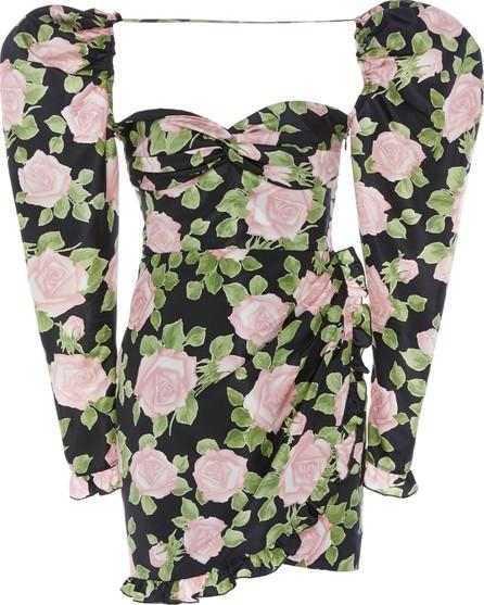 Alessandra Rich Floral-Print Silk-Taffeta Mini Dress