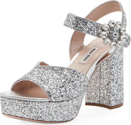 Miu Miu Glittered Platform Block-Heel Sandals