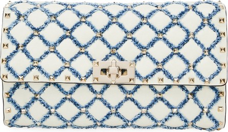 Valentino Spike It Small Leather and Denim Shoulder Bag
