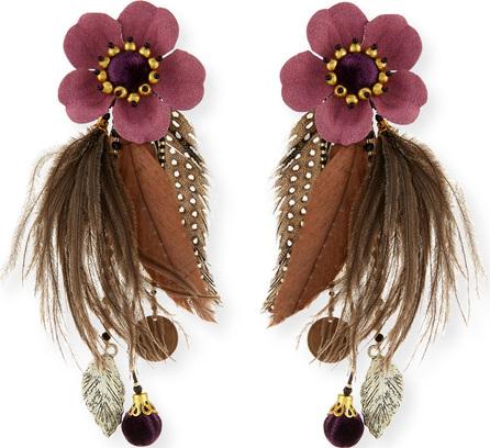 Ranjana Khan Laelia Clip-On Earrings w/ Feathers