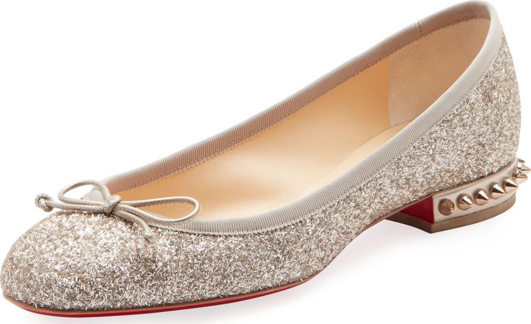 on sale 418b7 0df7b La Massine Glitter Spike Red Sole Ballet Flats
