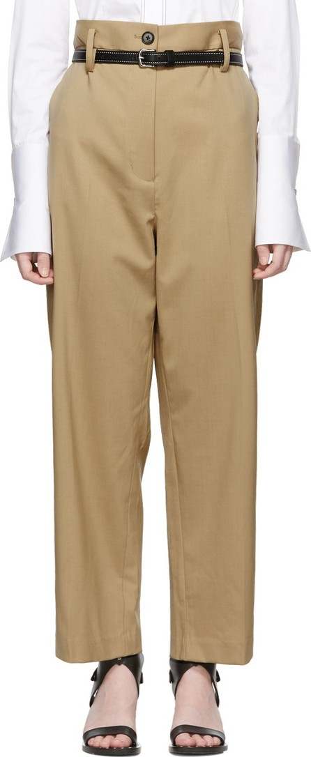 3.1 Phillip Lim Beige Wool Paper Bag Cropped Trousers