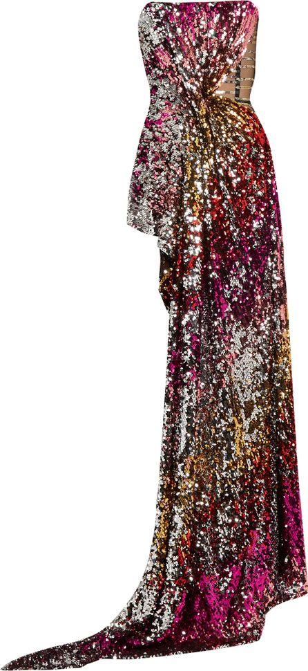 Halpern Sequin-embellished draped bustier top