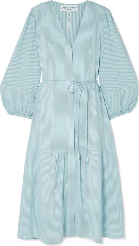 APIECE APART Laguna belted striped organic cotton-voile midi dress
