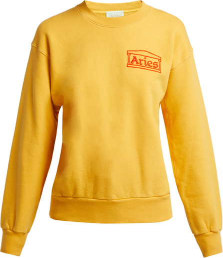 Aries Logo-embroidered cotton sweatshirt