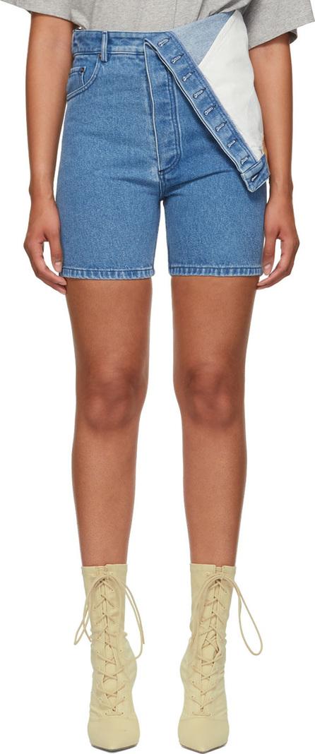 Y/Project Blue Denim Asymmetric Shorts