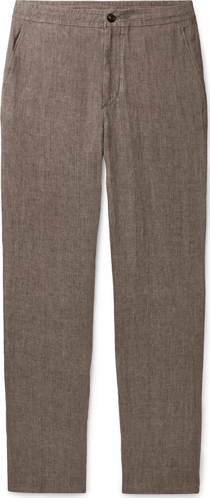 Ermenegildo Zegna Tapered Mélange Linen Drawstring Trousers