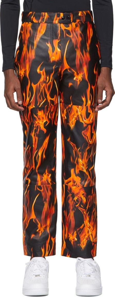 Marine Serre SSENSE Exclusive Black Leather Fire Trousers