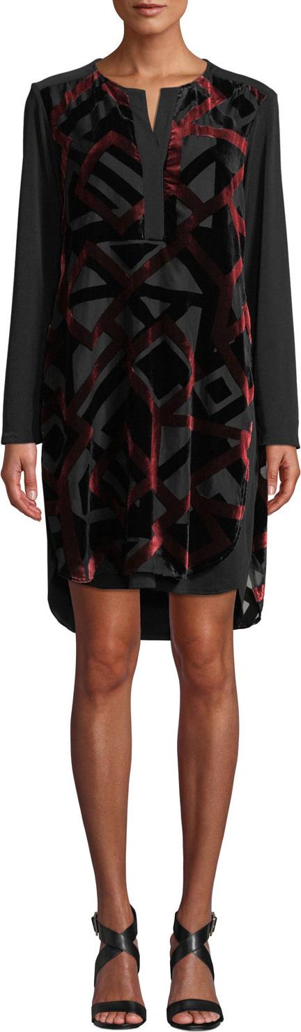 Finley Kenzie Velvet Devore Dress