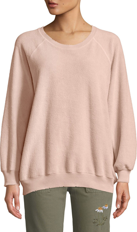 THE GREAT. The Bubble Crewneck Distressed Raglan Sweatshirt