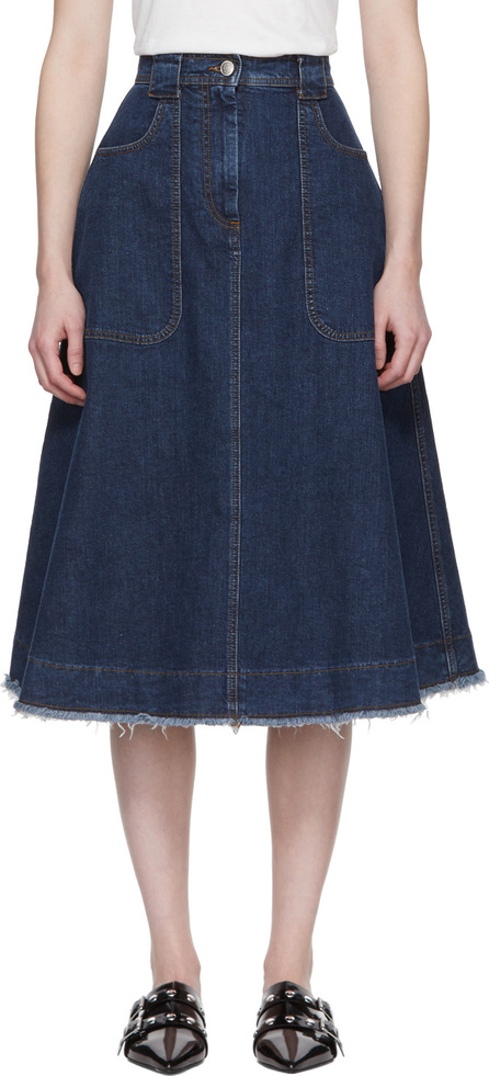 Alexachung Blue Denim Patch Pocket A-Line Skirt