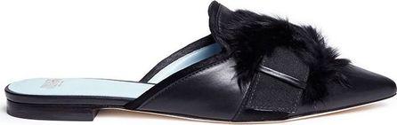 Frances Valentine 'Paulette' fur pompom leather slides