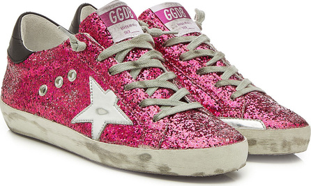 Golden Goose Deluxe Brand Super Star Glitter Sneakers with Leather