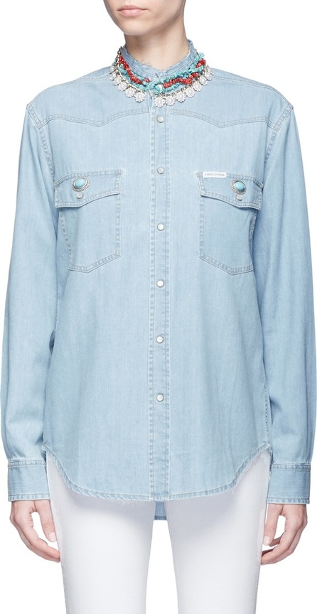 Forte Couture Embellished collar denim shirt