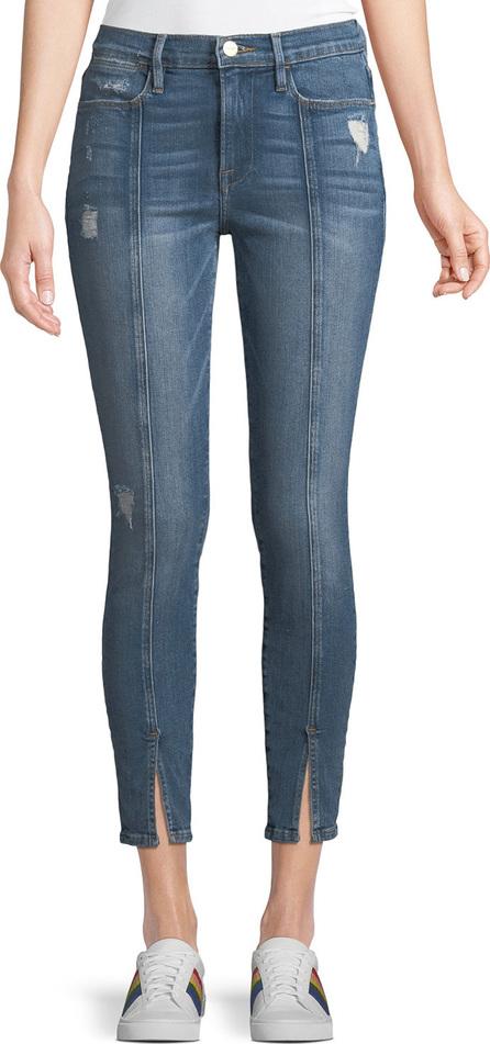 FRAME DENIM Le High Skinny Felt Split Distressed Cropped Jeans