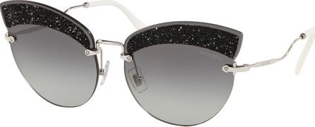 Miu Miu Semi-Rimless Glittered Cat-Eye Sunglasses