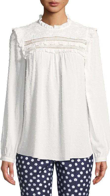 Kate Spade New York swiss-dot long-sleeve blouse with ruffled trim