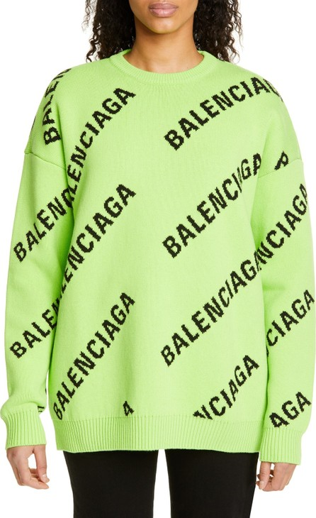 Balenciaga Logo Jacquard Cotton Blend Sweater