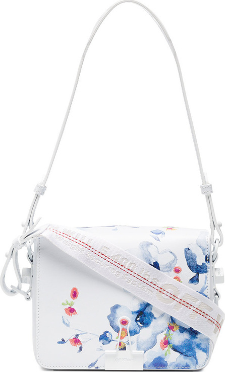 Off White X Browns White, Blue And Red Floral Print Leather Shoulder Bag