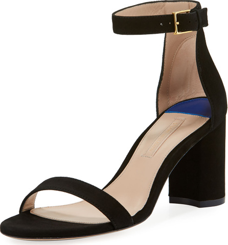 Stuart Weitzman 75LESSNUDIST Suede Block-Heel City Sandals