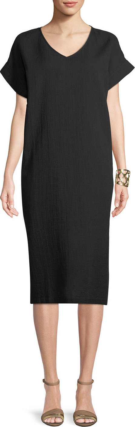 Eileen Fisher Cotton Gauze V-Neck Shift Dress